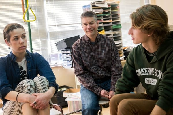 Larry Kraft speaks with two iMatter students.