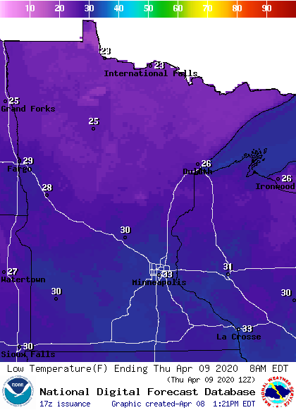 Forecast low temperatures Thursday morning