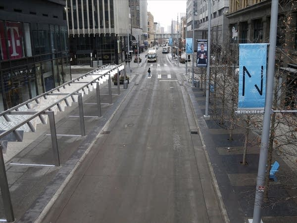 Nicollet Mall is almost deserted amid COVID-19 outbreak.