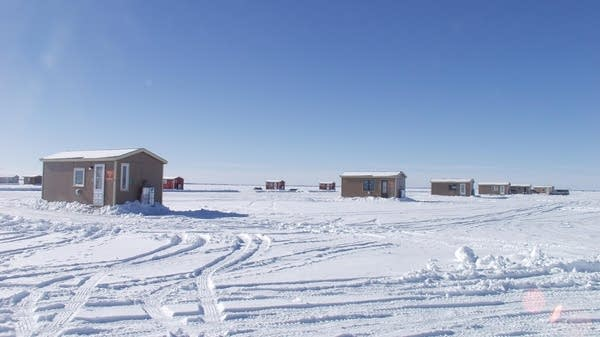 Ice fishing houses are pictured 03 Febru