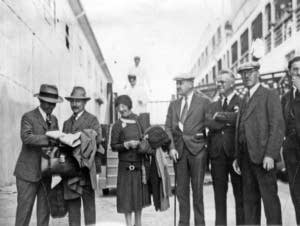 Orchestra members boarded a ship home in 1929.