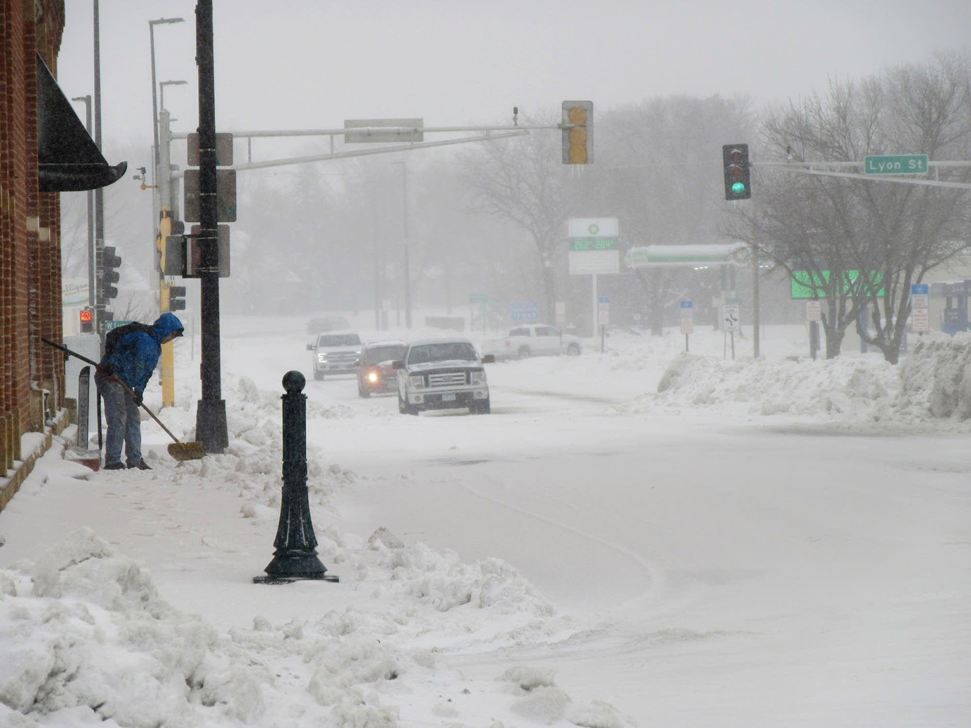 Main Street in downtown Marshall, Minn. was a snowy sight Thursday.