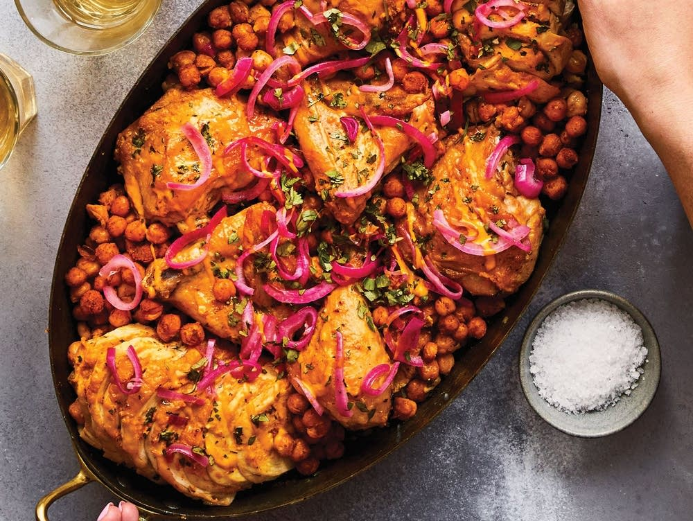 Mom's Chicken with Turmeric Tahini, Chickpeas, and Onions
