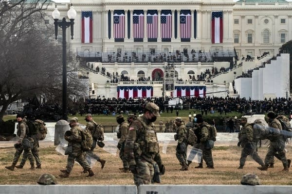 National Guard troops at the U.S. Capitol.