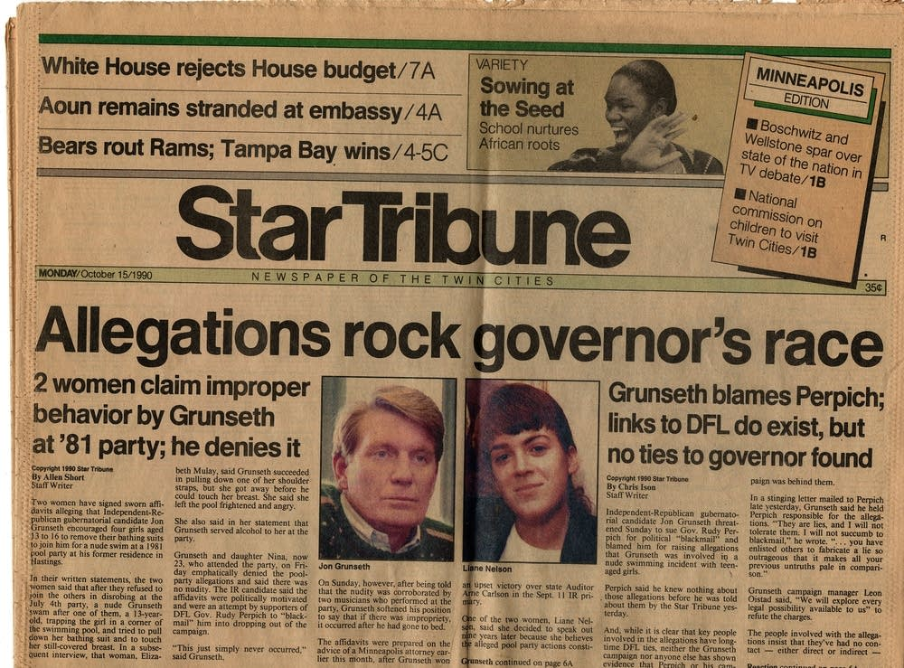 Star Tribune cover on Oct. 15, 1990