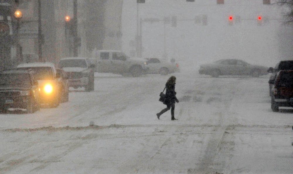 Snowy downtown Bismarck