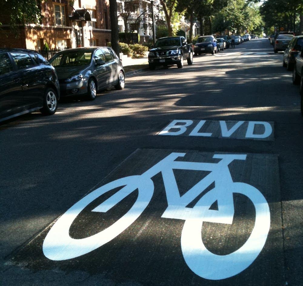 Bike boulevard stencil