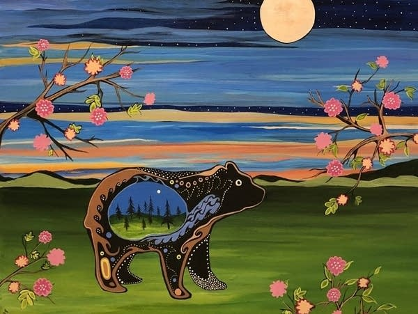 Stylized and colorful painting of a bear in the woods