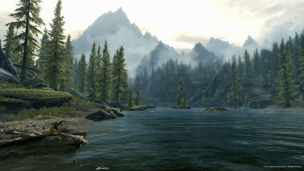 A Lake and Mountains in Skyrim