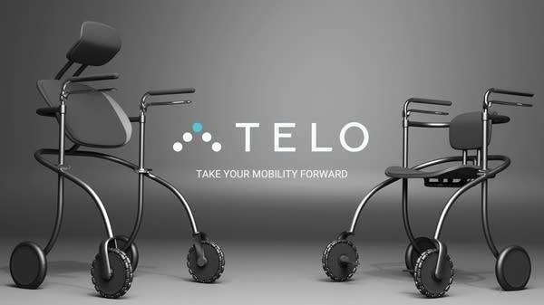 A rollator walker with the company logo Telo