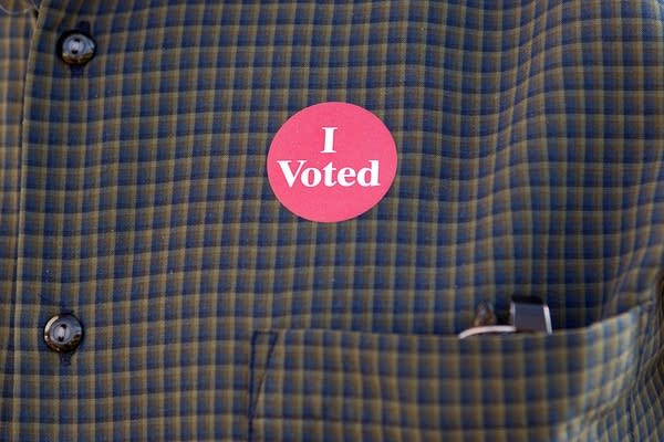 Winston Chrislock wore an I Voted sticker.