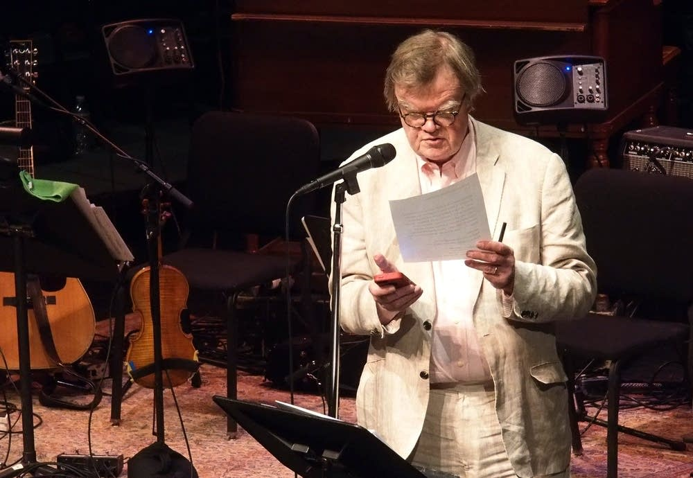 6:59 p.m. Friday: Keillor times a promo.