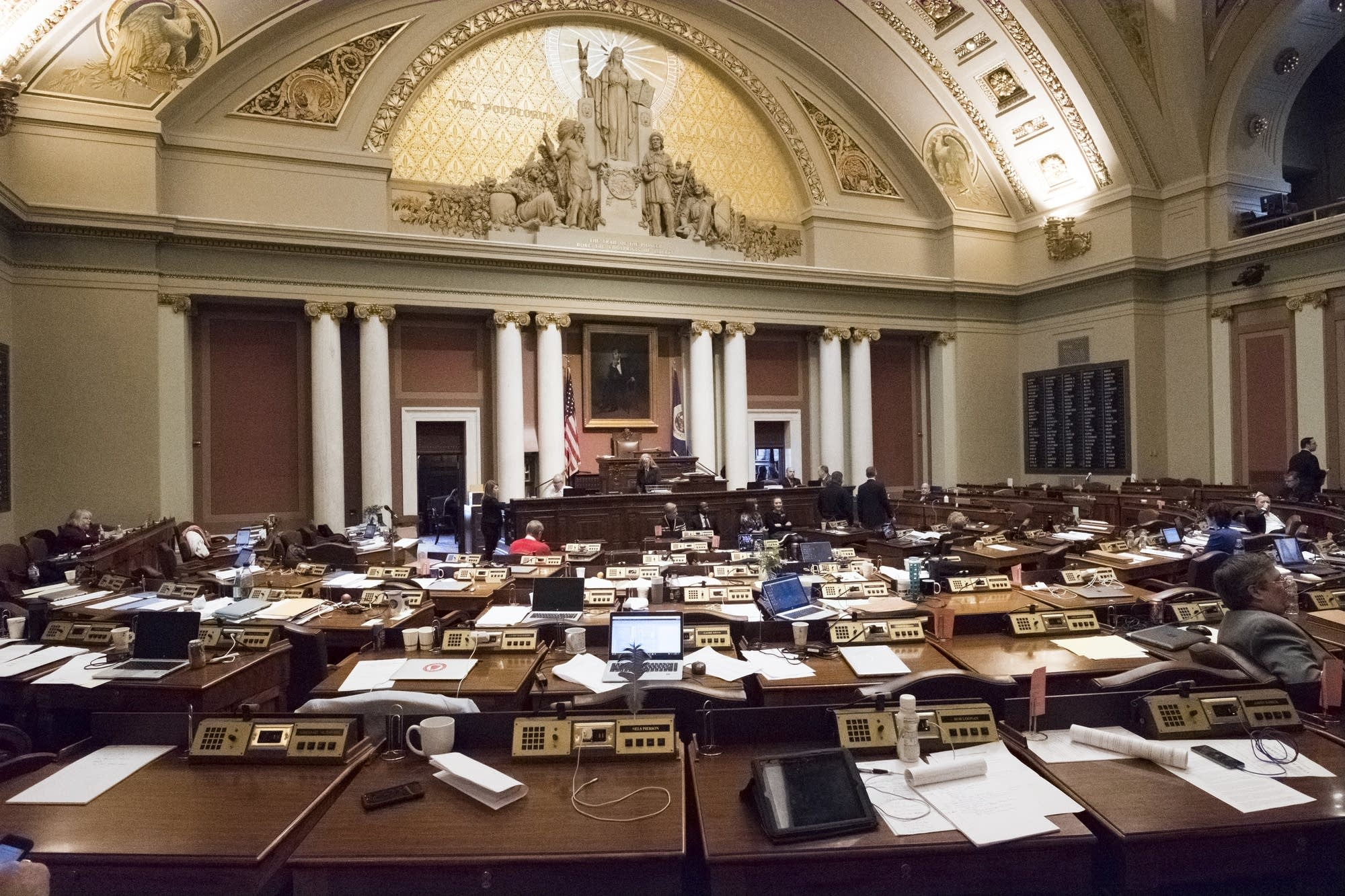 The Minnesota House sits nearly empty.