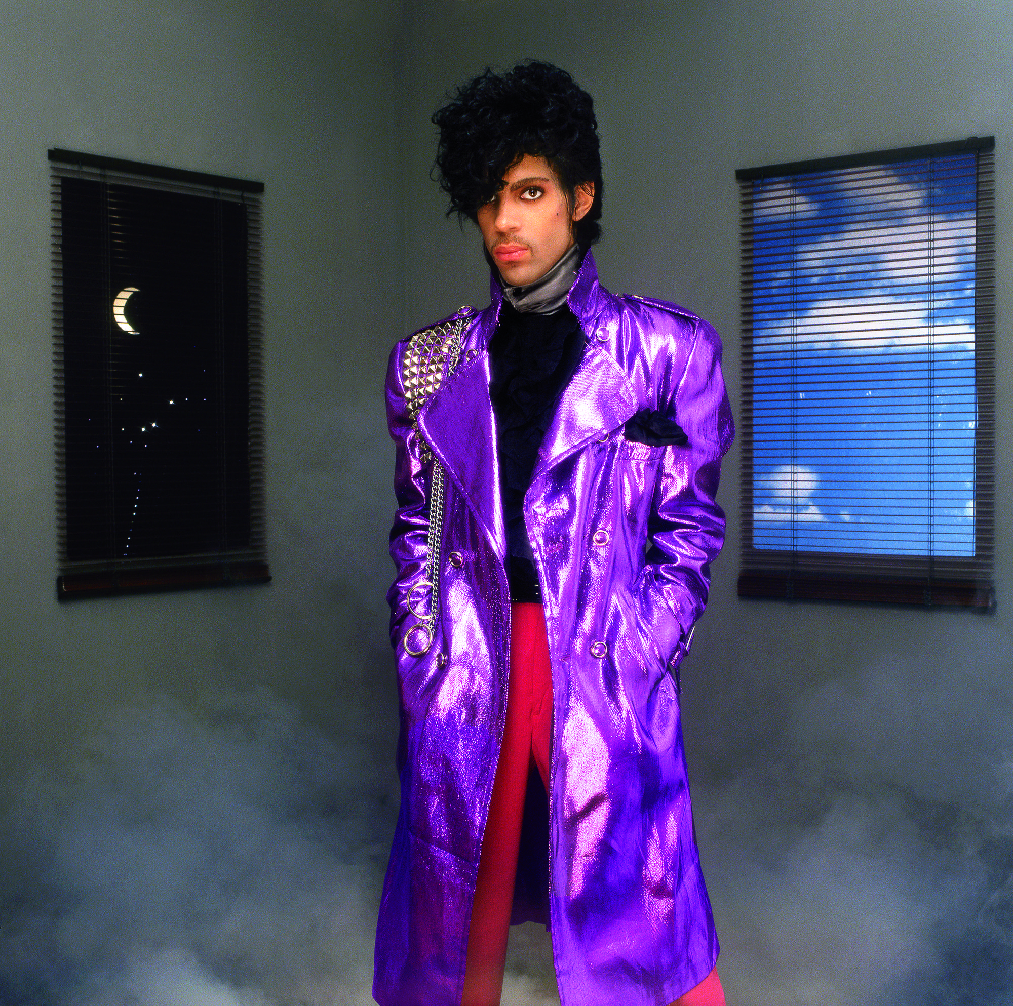 Prince in the famous purple trench coat