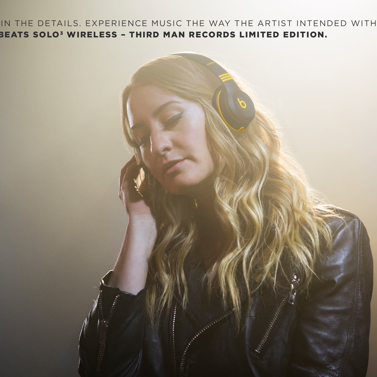 Margo Price models Beats by Dre Third Man Records headphones.