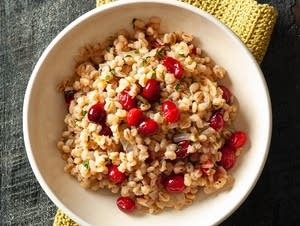 Barley and cranberry pilaf with rosemary and orange.