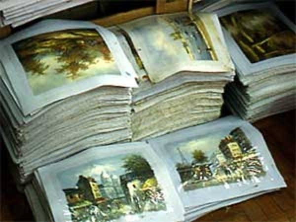 Stacks of forged paintings