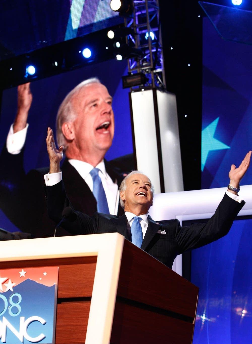 Joe Biden cheers delegates at the DNC