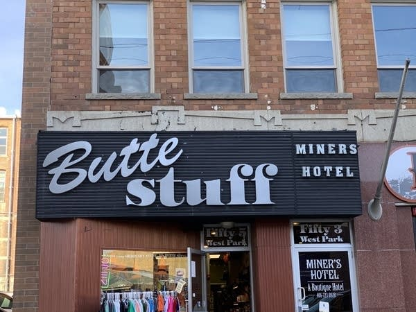 "A storefront with big sign that says ""Butte Stuff"" in Butte, Montana"