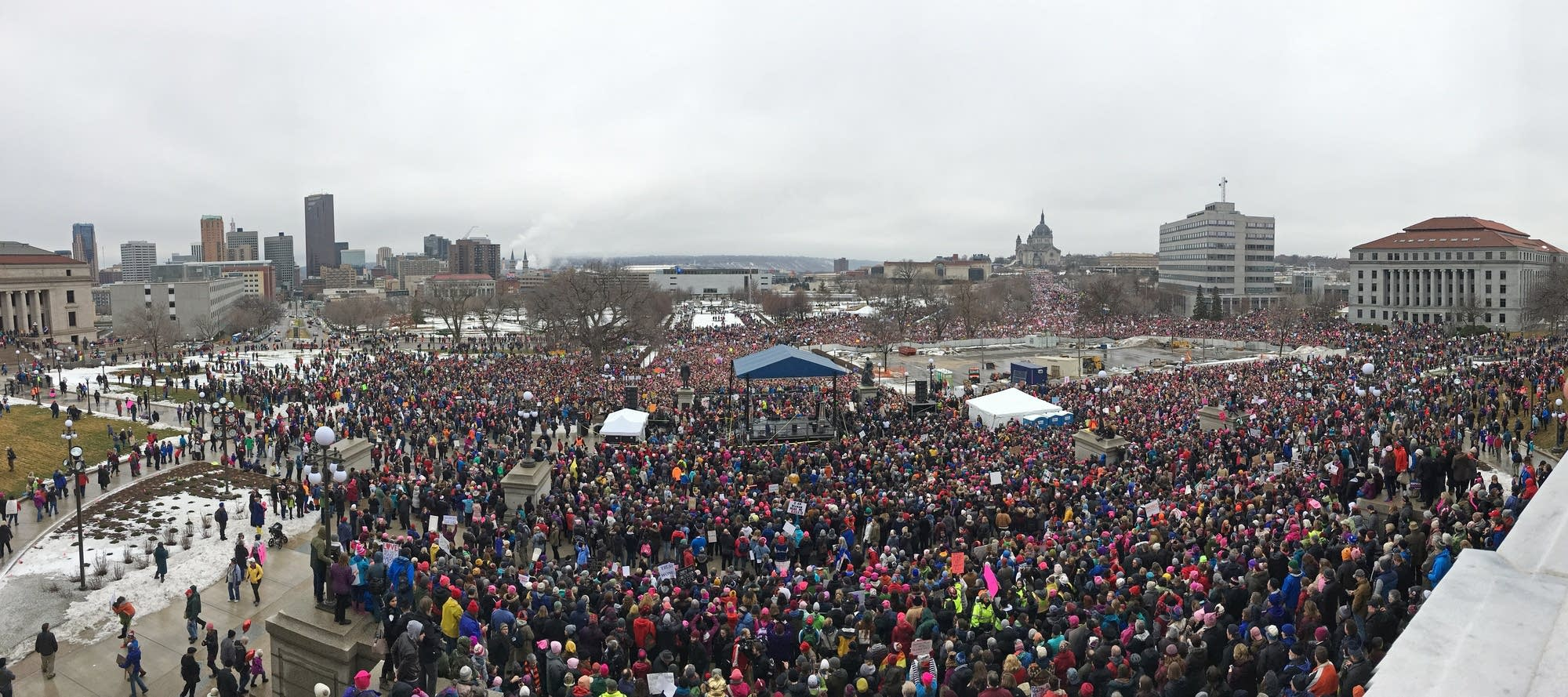 Panoramic view of the Women's March crowd from the capitol.