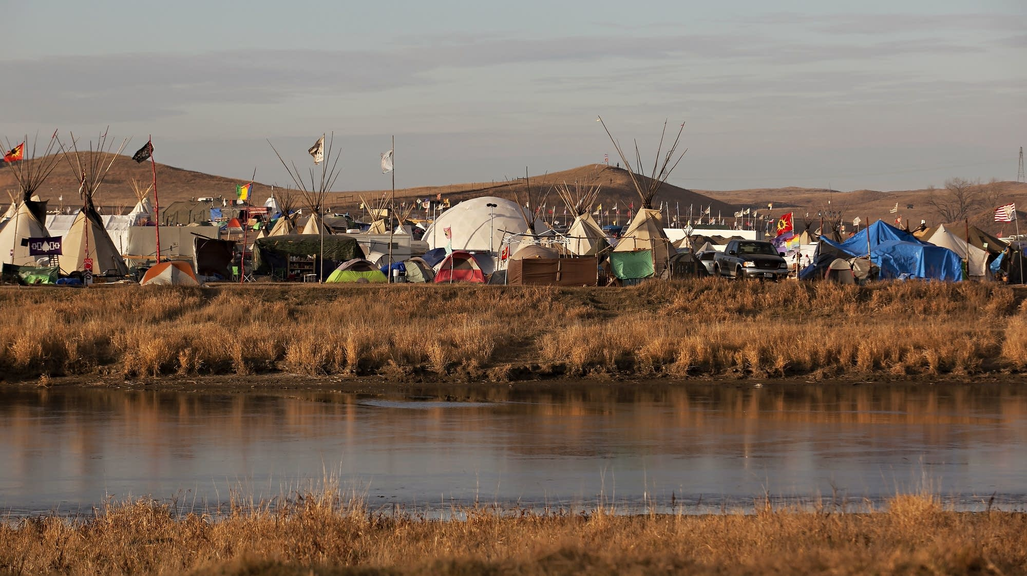 A portion of an encampment called the Oceti Sakowin Camp.