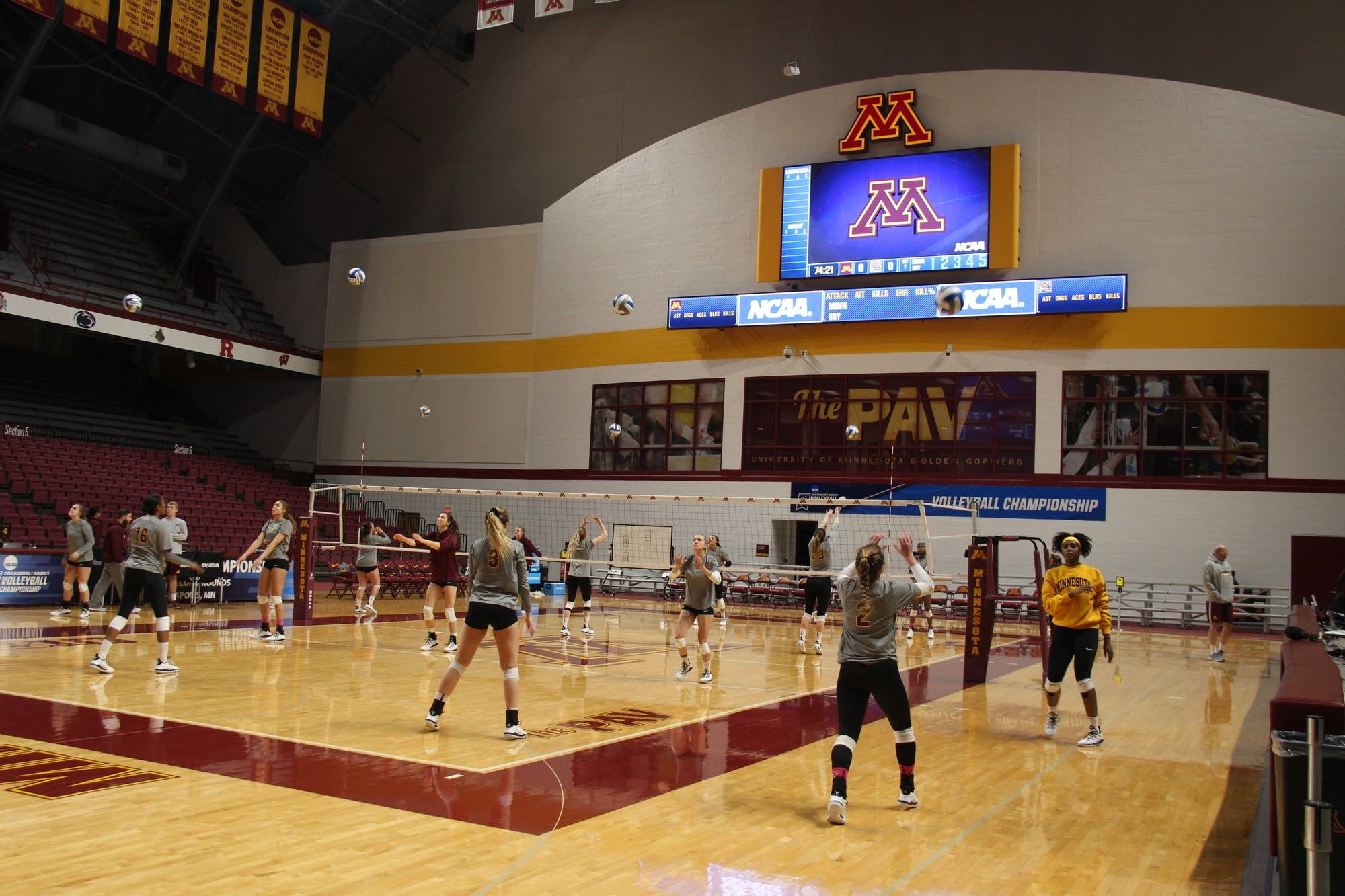 The University of Minnesota Women's Volleyball Team practices.