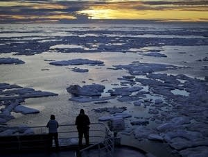 Sun sets over sea ice in the Victoria Strait along the Northwest Passage