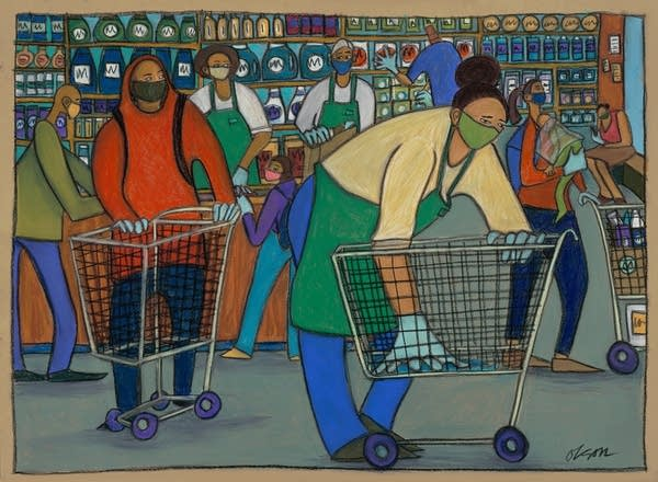 Grocery Store Cart Disinfection Worker by Carolyn Olson.