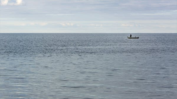 A lone angler works a spot on the southwest corner of Mille Lacs.