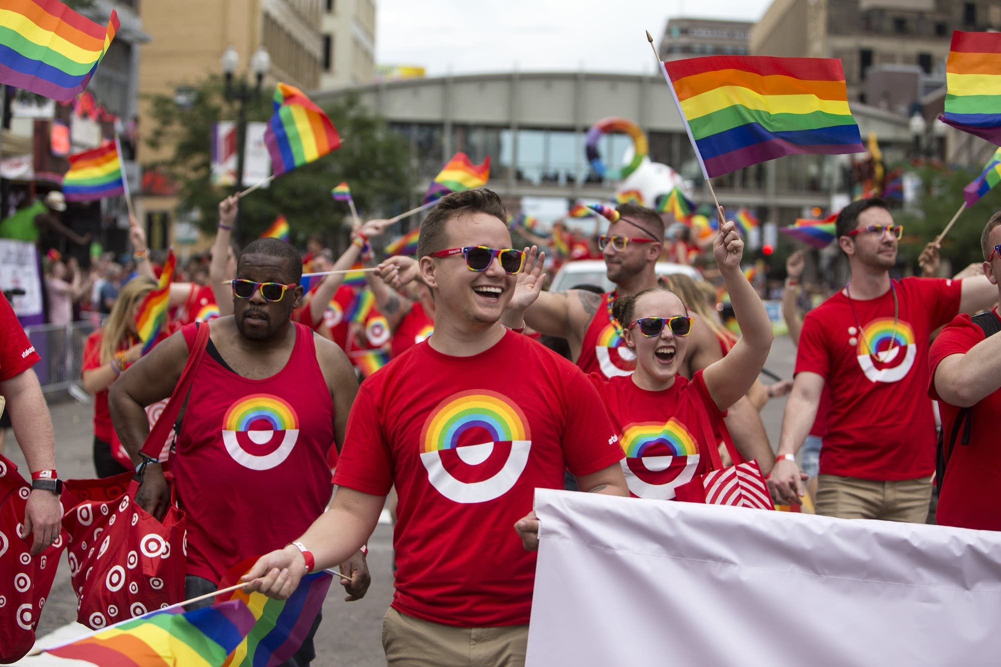 Target employees march together.
