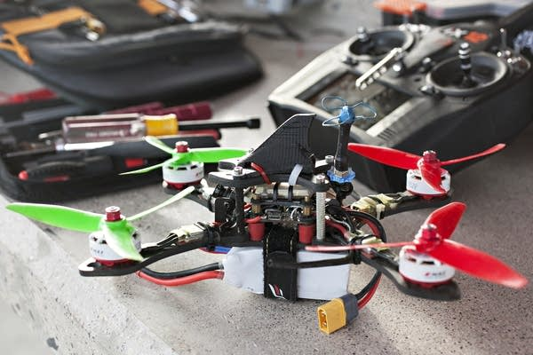 Members of the FM Quad Squad use drones with four propellers for races.