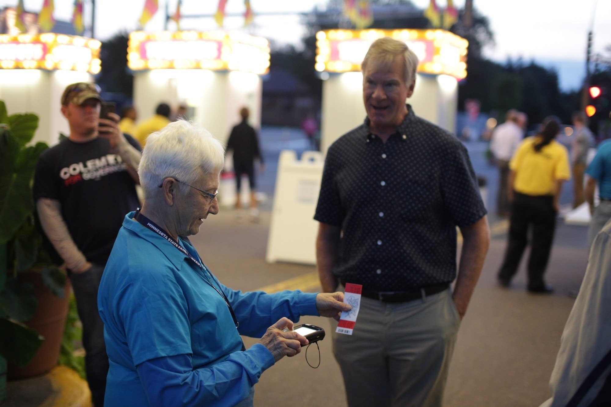 St. Paul Mayor Chris Coleman enters the Minnesota State Fair.