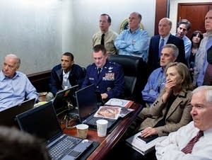 Obama monitors the raid that resulted in the death of Osama bin Laden