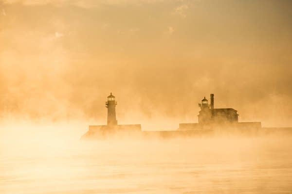 Steam rises off Lake Superior