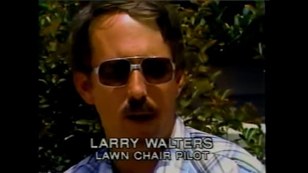 "Still of ""Lawnchair Larry"" from a 1990s CBS news report"