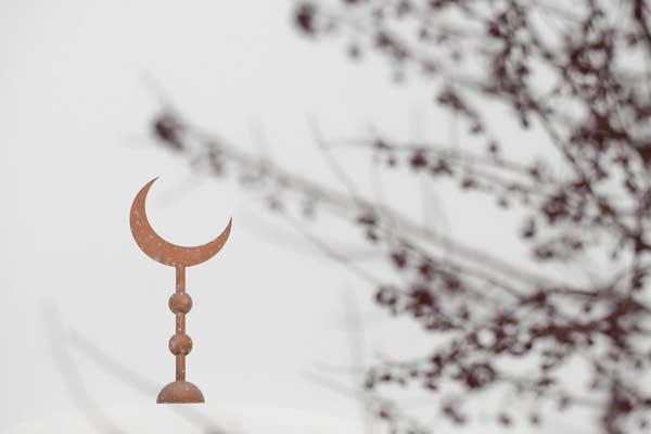 A light snow falls on the Masjid An-Nur mosque.