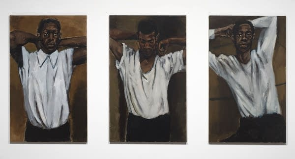 "Lynette Yiadom-Boakye's triptych of paintings ""Shelves for Dynamite."""