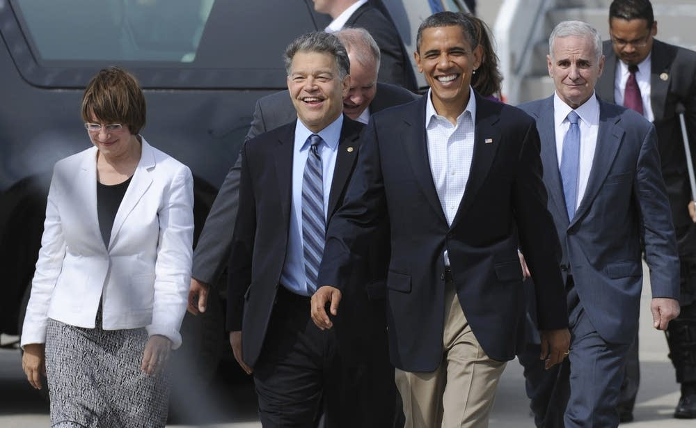 Barack Obama, Al Franken, Amy Klobuchar, Mark Dayt