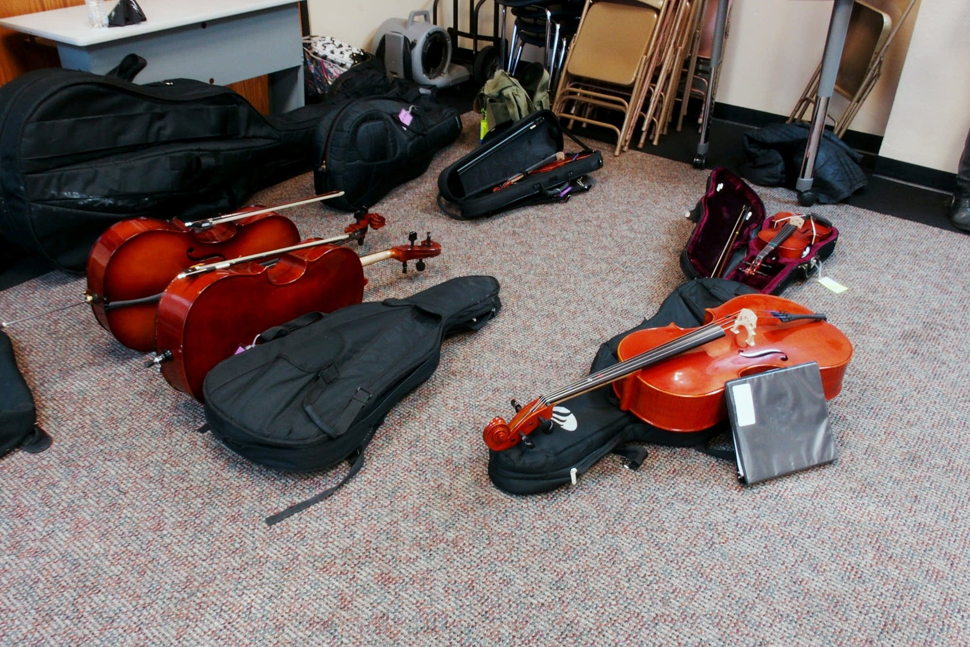 Students instruments await their owners at Ascension Catholic School