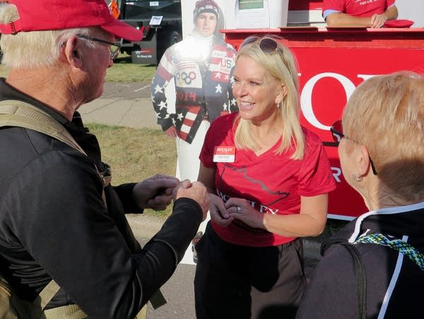State Sen. Karin Housley in front of her State Fair booth.