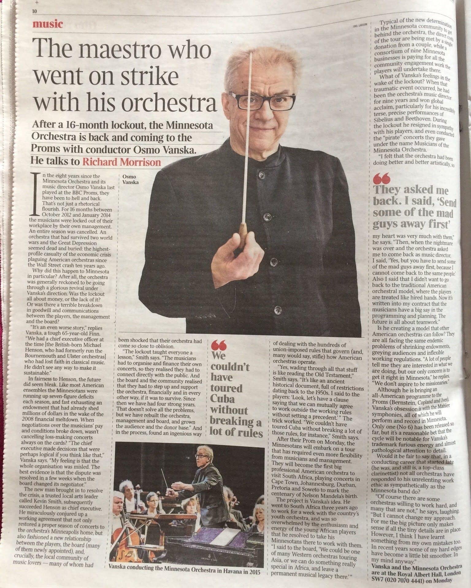 Vanska in the London Times