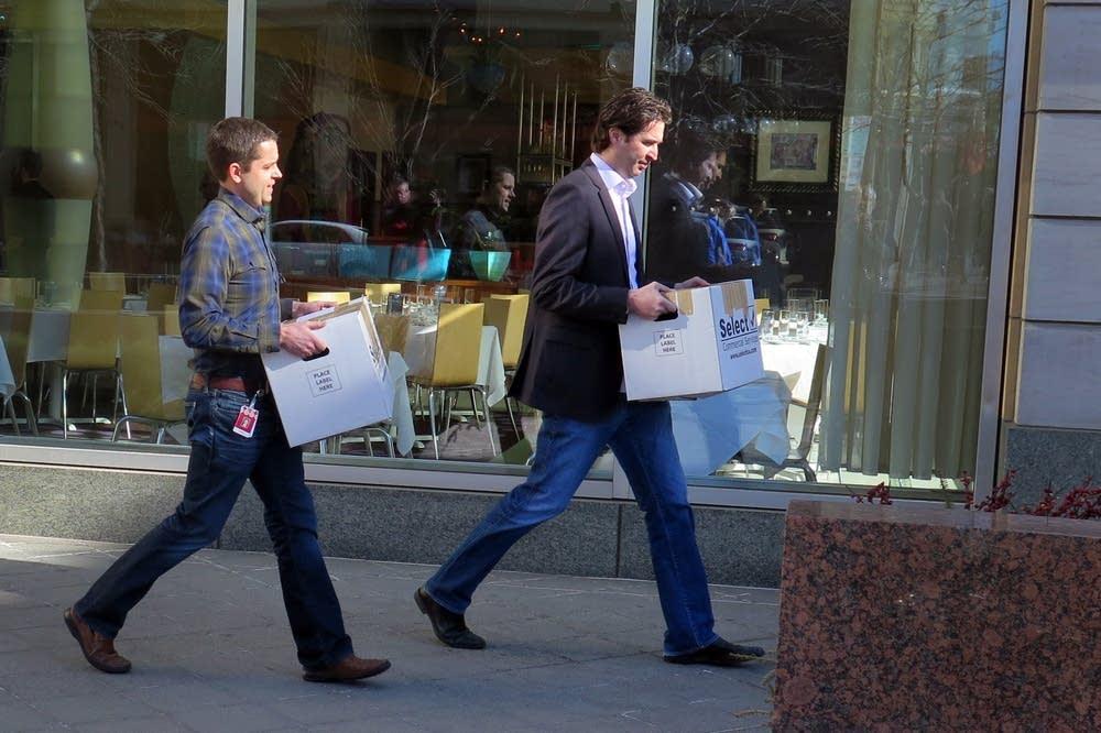 Two men left Target headquarters.