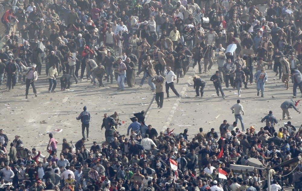 Protesters clash