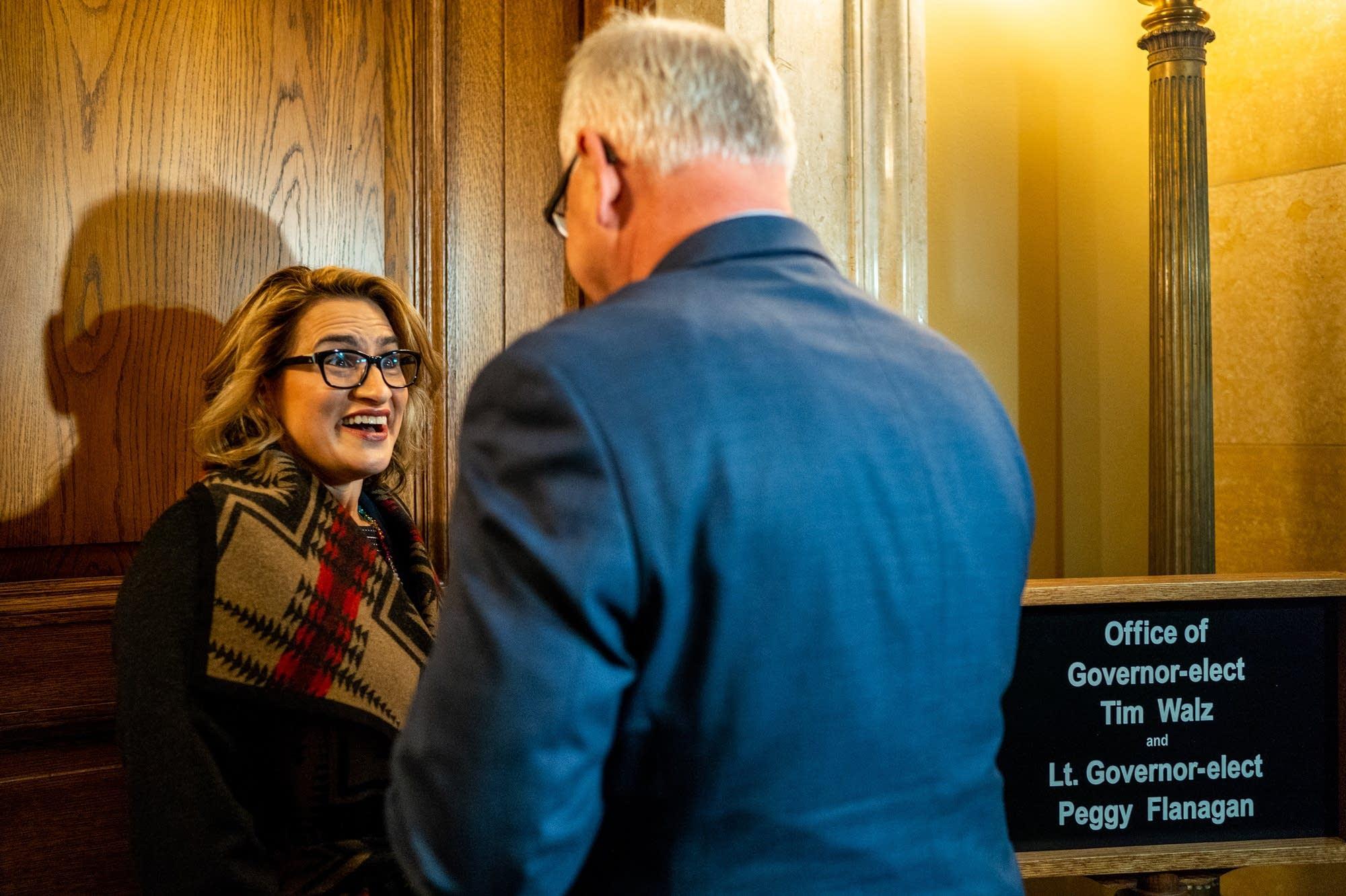 """""""You ready?"""" Governor-elect Tim Walz asks Lt. Governor-elect Peggy Flanagan"""