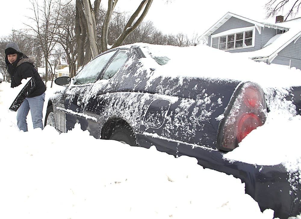 Shoveling out car