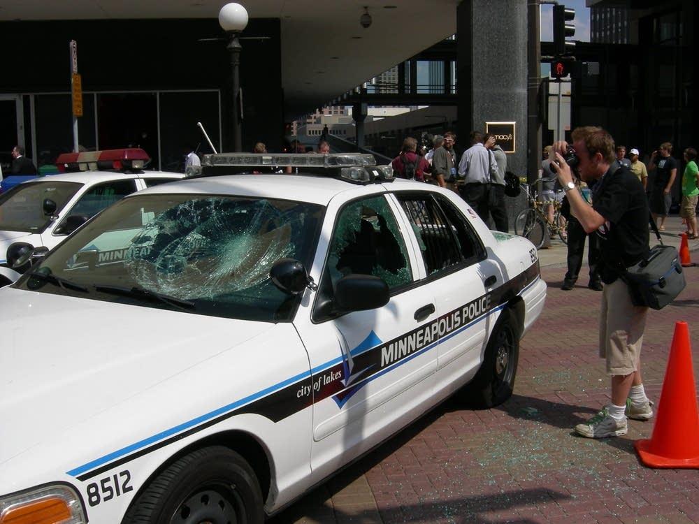 Smashed cop car