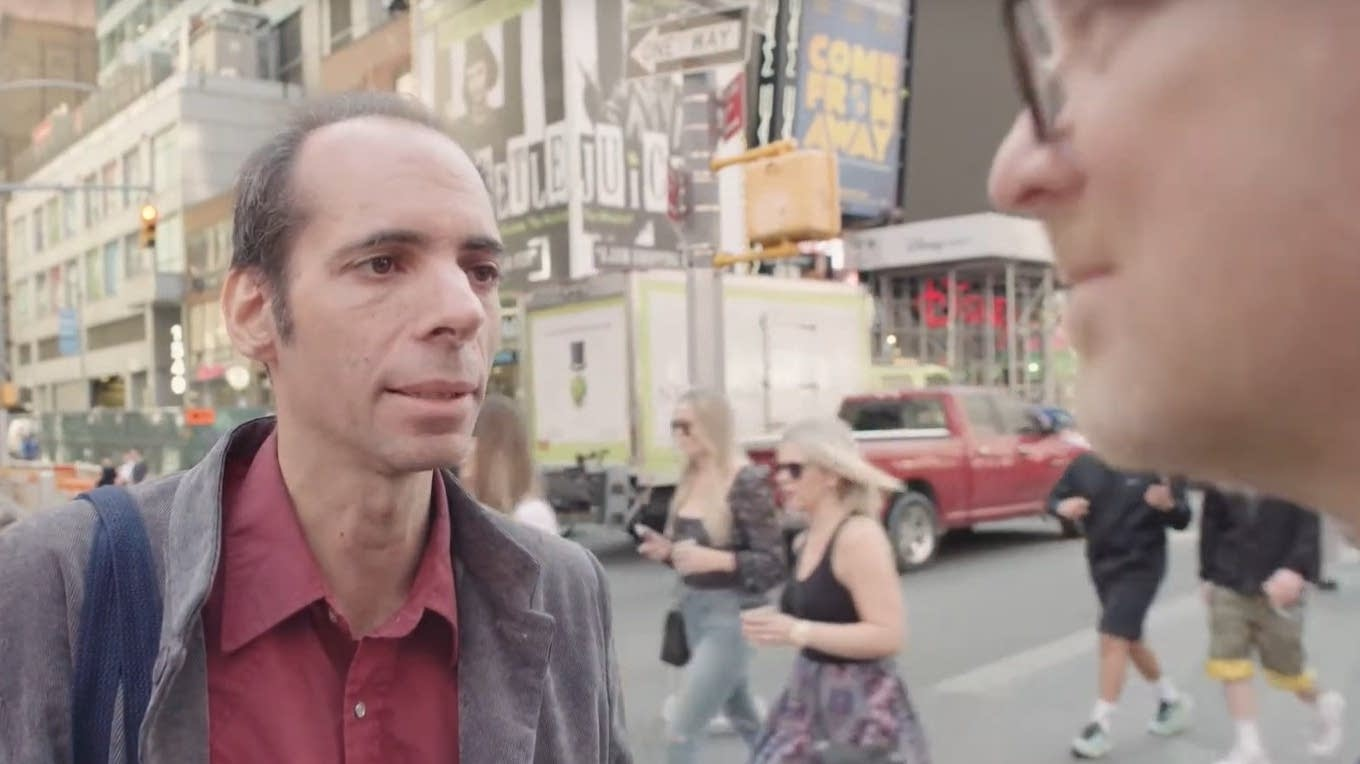 Interviewing author and musician Alan Licht in Times Square