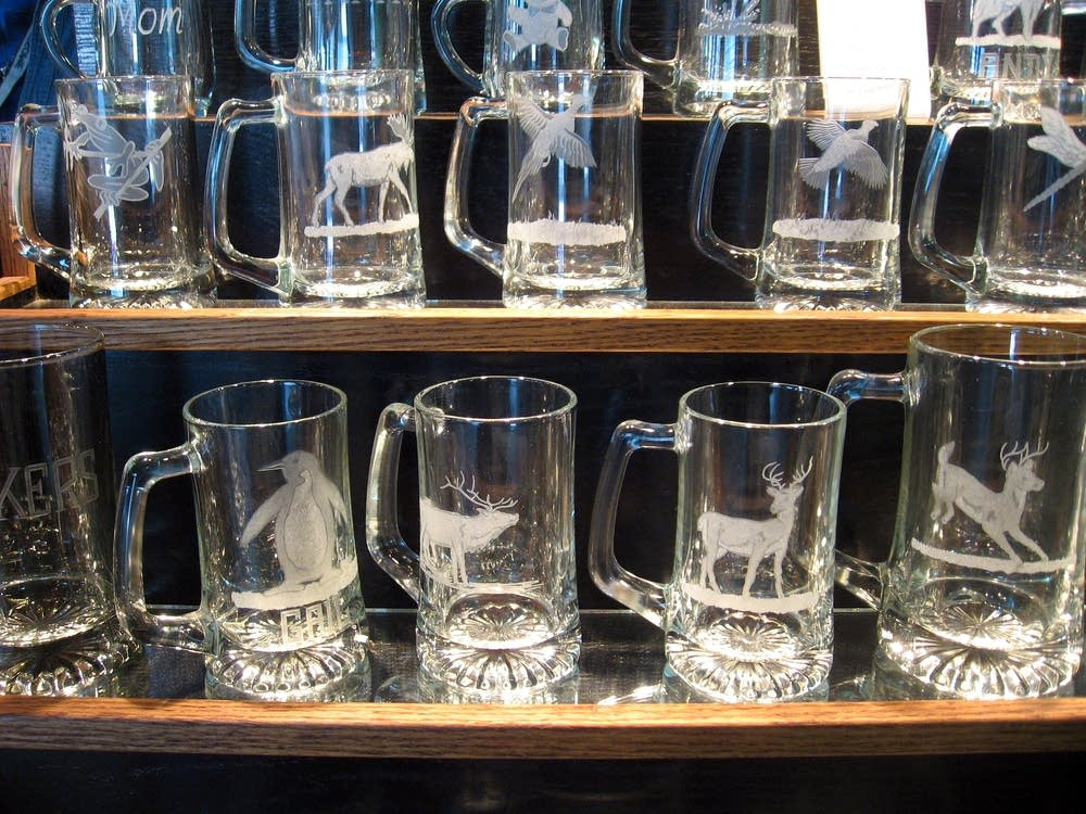 Etched glass mugs