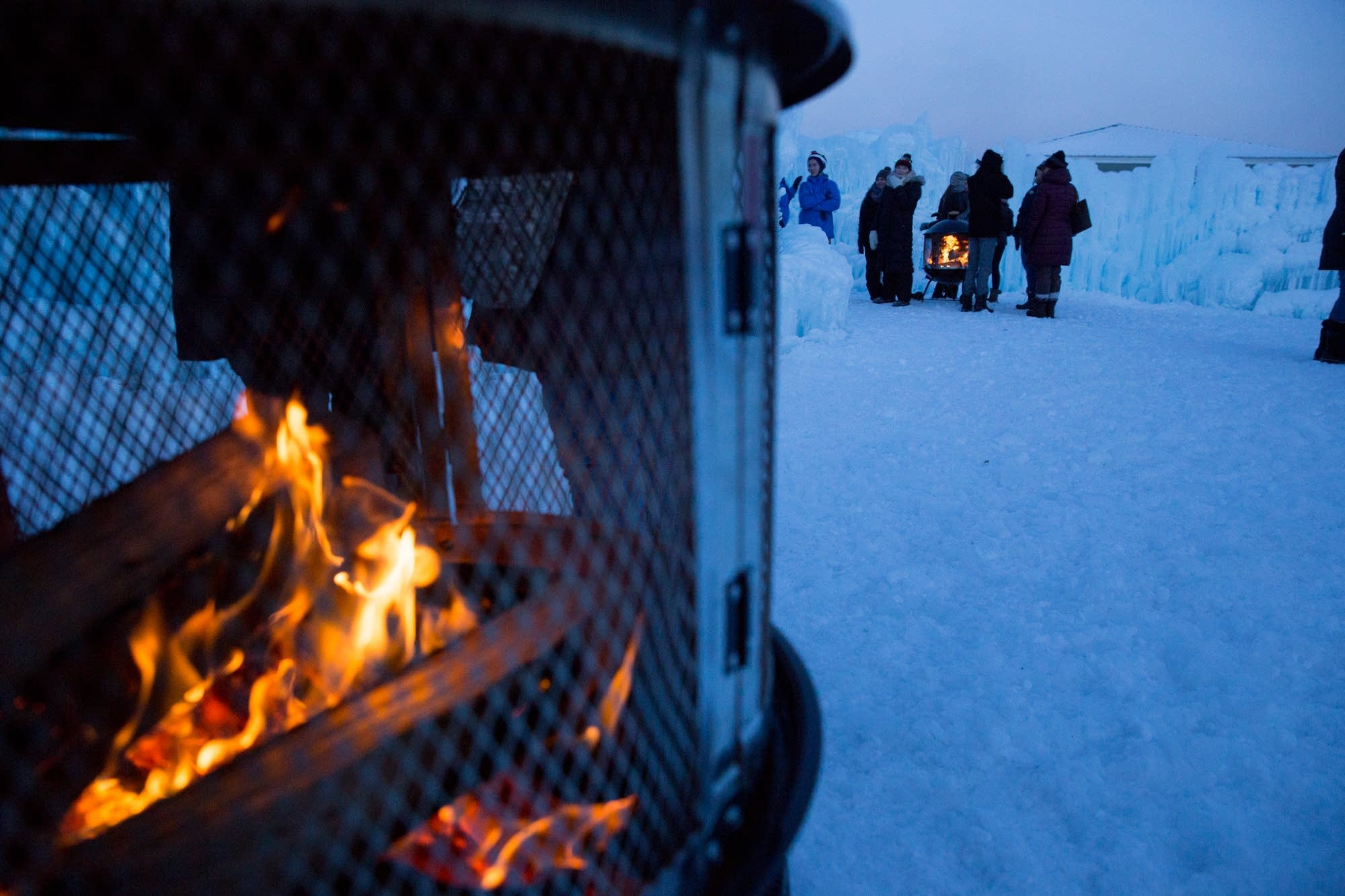 Two fire pits help keep visitors warm.