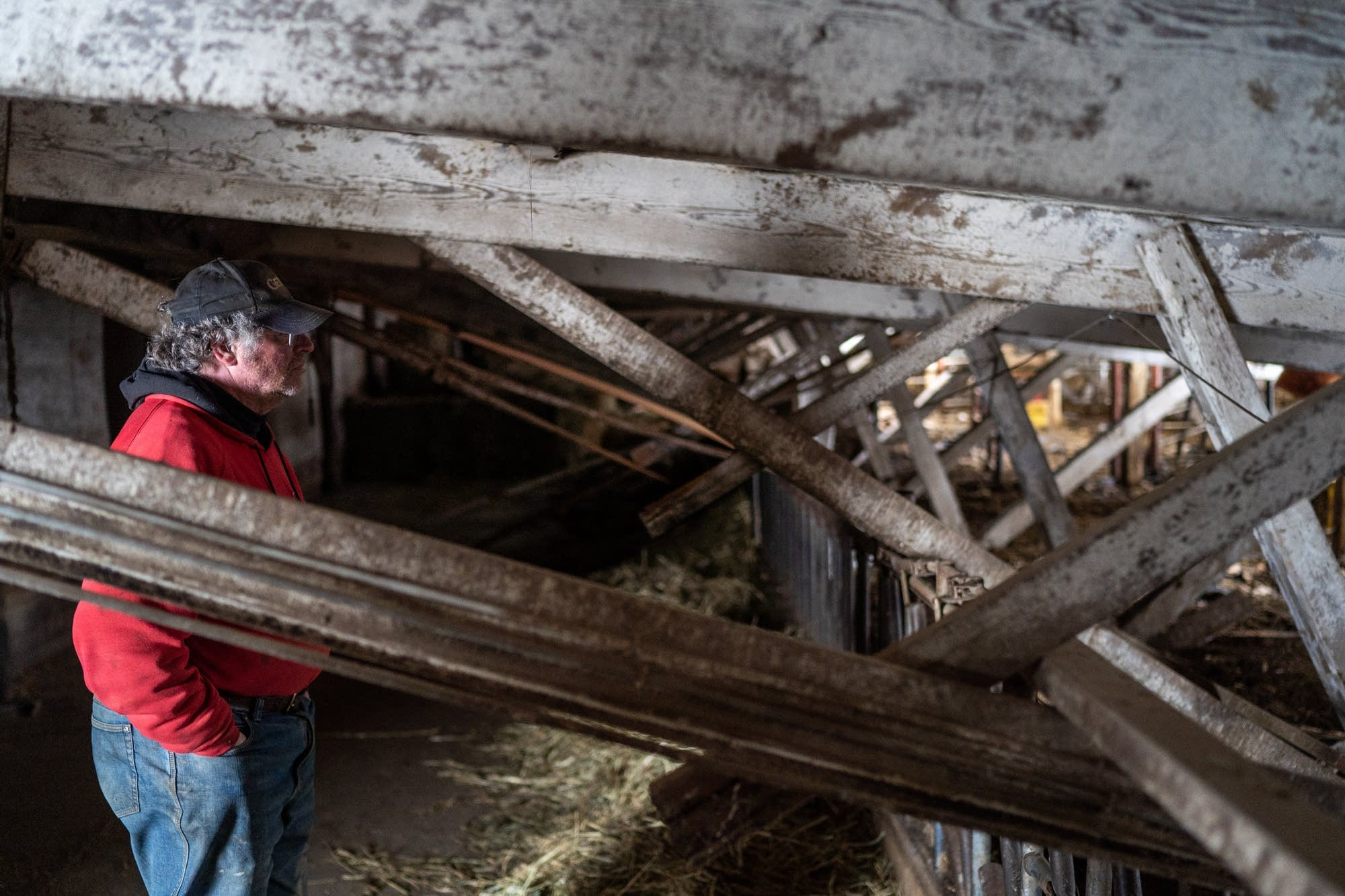 Dave Alberts looks into his collapsed barn.